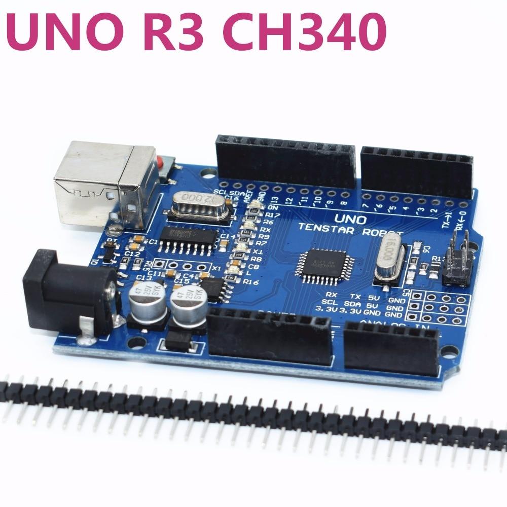 Один комплект TENSTAR робот UNO R3 CH340G + MEGA328P Чип 16 мГц UNO R3 черный/синий/красный для arduino uno r3