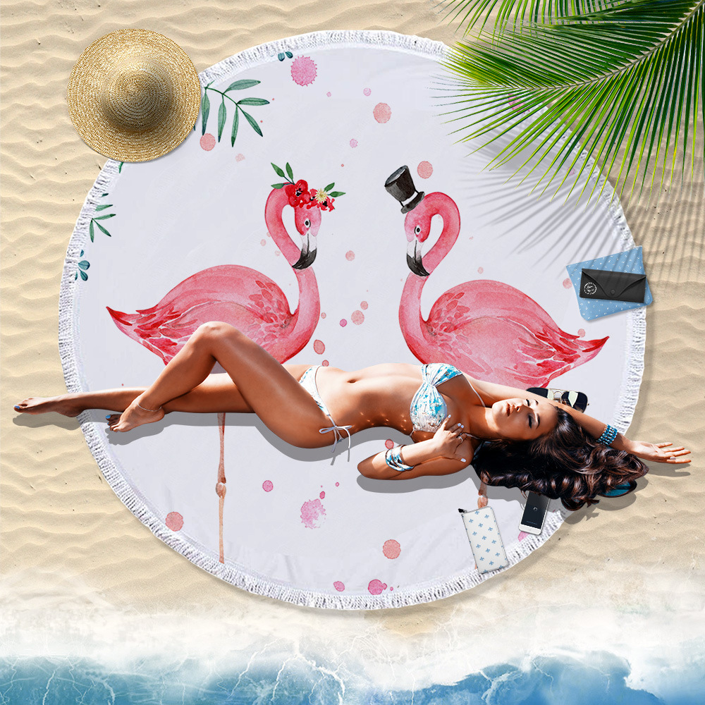 Flamingo Round Beach Towel with Tassel Microfiber Sunbathe Bath Towels Throw Picnic Blanket Bikini Covers Shawl Tablecloth