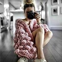 Autumn winter coarse wool hand knit sweater women V Neck lazy wind Rough wool Knitted Lantern Sleeved cardigan jacket Coat
