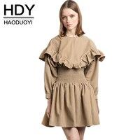 HDY Winter Dress O Neck Ruffles Autumn Winter Dresses 2017 Fashion Women Long Sleeve Women Dress