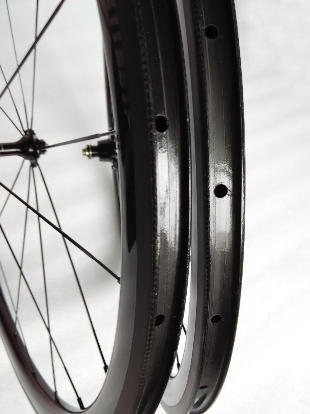 carbon wheels clincher 38mm 700C road bike clincher 38mm 3k glossy  black wheelset (6)