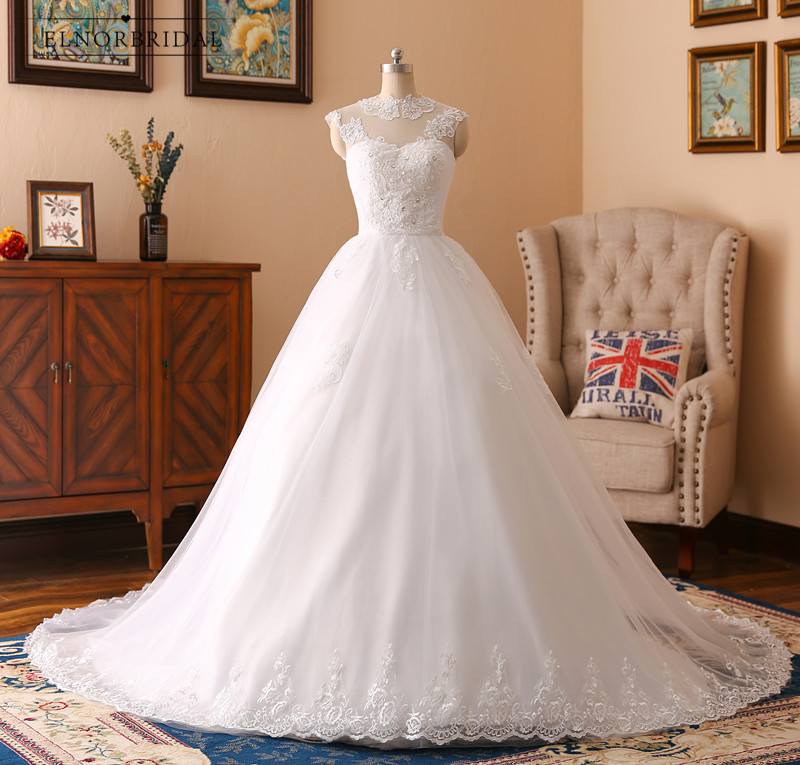 Vintage Lace Ball Gown Wedding Dresses 2019 Real Photos