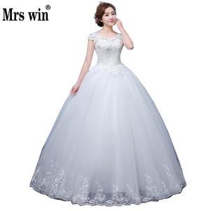 Image 1 - 2020 חדש Vintage חתונת שמלות גברת Win קצר שרוול כדור שמלת נסיכת חתונת שמלות Vestido דה Noiva Robe דה Mariee F