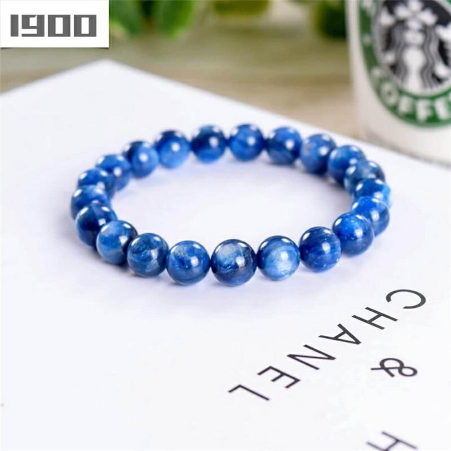 Natural Genuine Kyanite Gems Crystal Round Beads Bracelet Trendy Women Crystal Stone Beads Bracelet Drop Shipping 2018 Newly цены