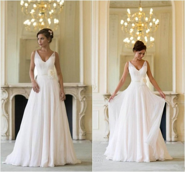 Aliexpress.com : Buy Backless Beach Wedding Dresses V Neck Flowing ...