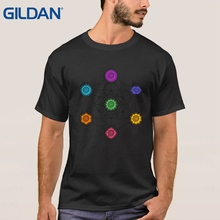 Hip-Tope Basic Purple Mans T-Shirt Metatrons Cube Chakras Cosmic Energy Centers Tee Shirt Cotton Custom