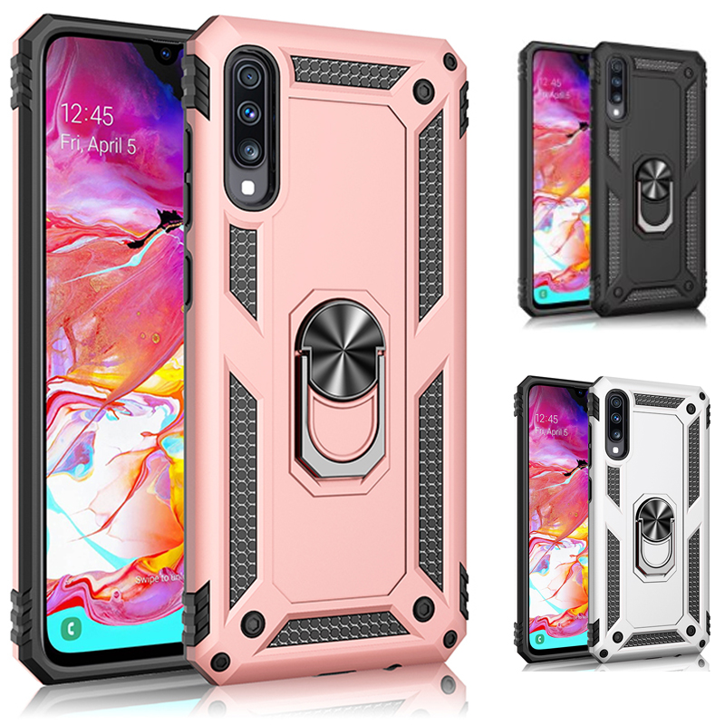 Car Mounted Armor Case For Samsung Galaxy A20e A 10 20 30 40 50 70 S 21 31 7 Shockproof Ring Buckle Stand Soft TPU PC Case Cover