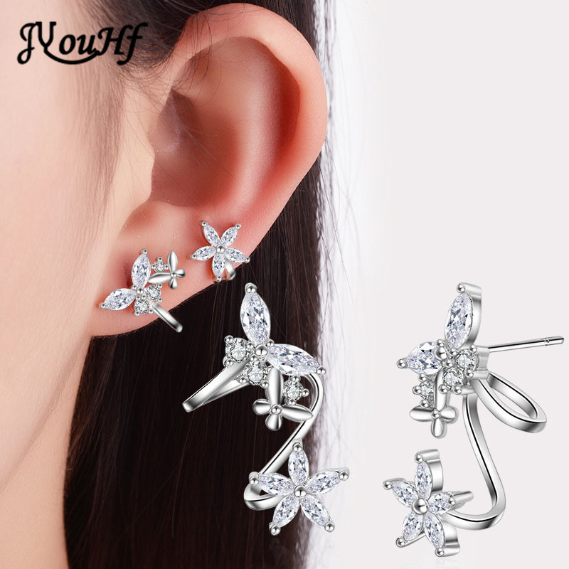 JYouHF New Design Cute Butterfly Women's Earrings Simple White/Rose Gold Color Flower Clip Earrings AAA Zircon Ear Cuff Earrings delicate rhinestone filigree butterfly solid color ear cuff for women