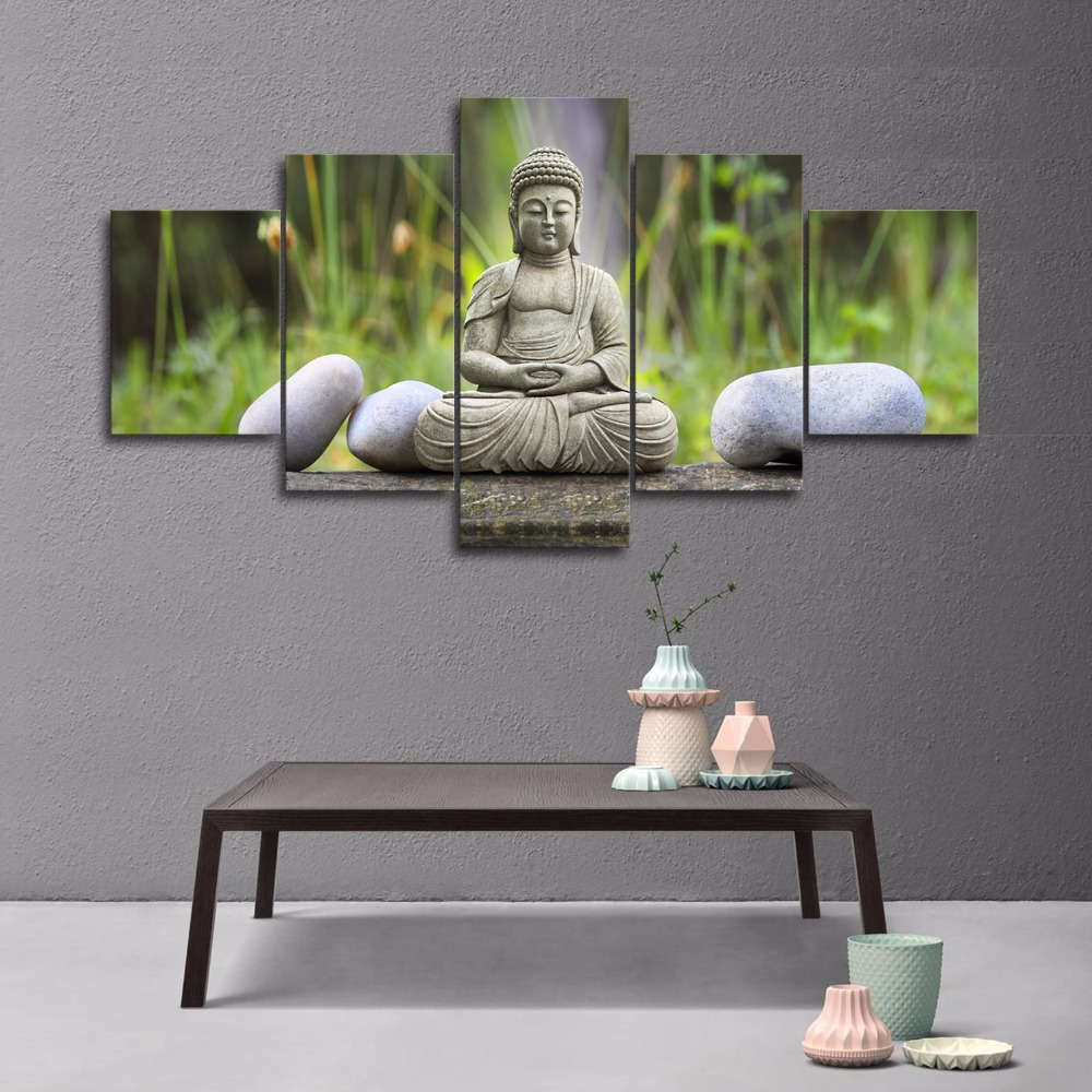 5pcs Figure Statue Of Buddha Photos Wall Decor Painting Large Canvas Printings Modern Home Decoration