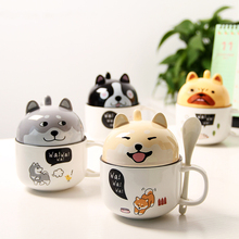 With Cover Cute Dog Cat Claw Coffee Tea Mug Cherry Double Layer Ceramic Juice Cup Transparent Pink Milk Mug Water Cup