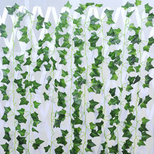 2.1m Artificial Ivy green Leaf Garland Plants Vine Fake Foliage Flowers Home Decor Plastic Artificial Flower Rattan string(China)