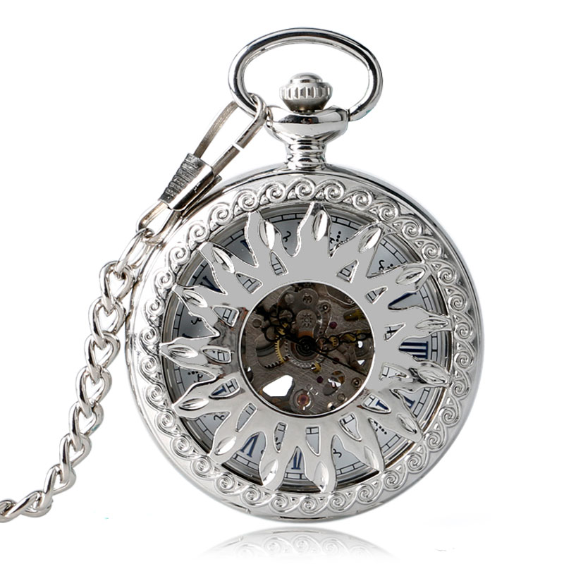 Stylish Elegant Hollow Sun Pendant Automatic Mechanical Silver Self Winding Chain Skeleton Pocket Watch Gift