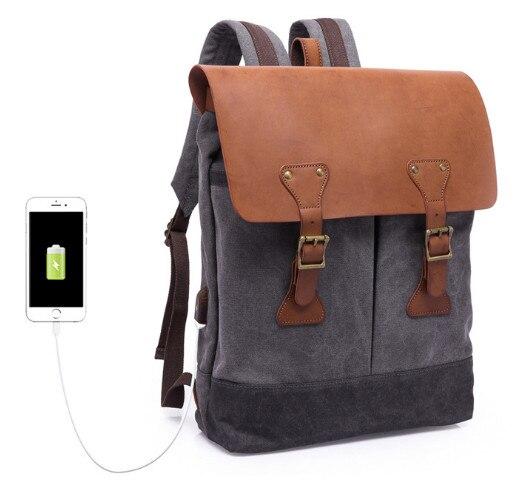 Nouveau sac à bandoulière rétro pour hommes multi-fonction sac en toile 15.6 pouces ordinateur pochette d'ordinateur sac à dos de voyage avec interface usb