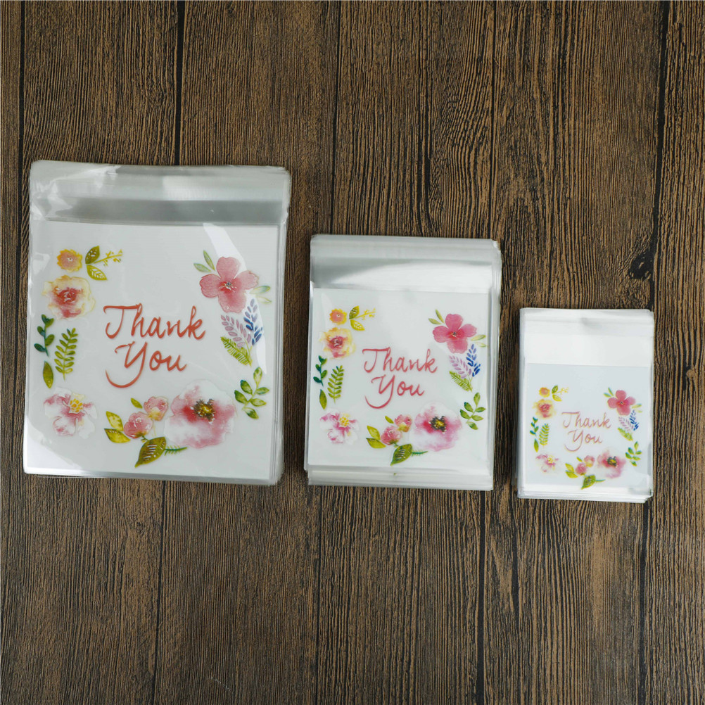 100pcs Thank You Flower Pattern  DIY Resealable Transparent Opp Plastic Bags Self Adhesive Seal Jewellery Making Bag 3 Sizes