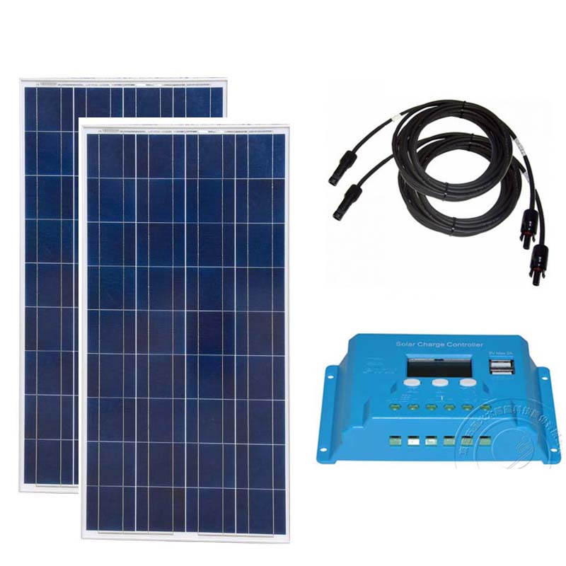 Kit Solar Caravana Panels 300w 24v Panel 12v 150w 2Pcs Charge Controller 12v/24v 10A Camping