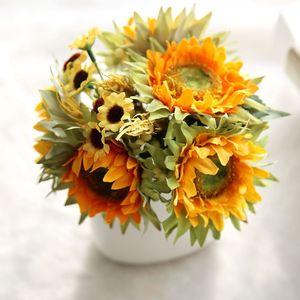 Image 4 - Autumn Decoration 5 Heads Yellow Sunflower Silk Artificial Flowers Bouquet For Home Decoration Office Party Garden Decor
