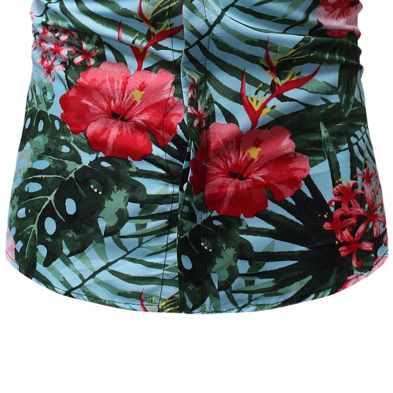 Mens Dress Shirts Flower Short Sleeve Floral Hawaiian Shirt Men's Clothing Social Blouse Men Slim Summer