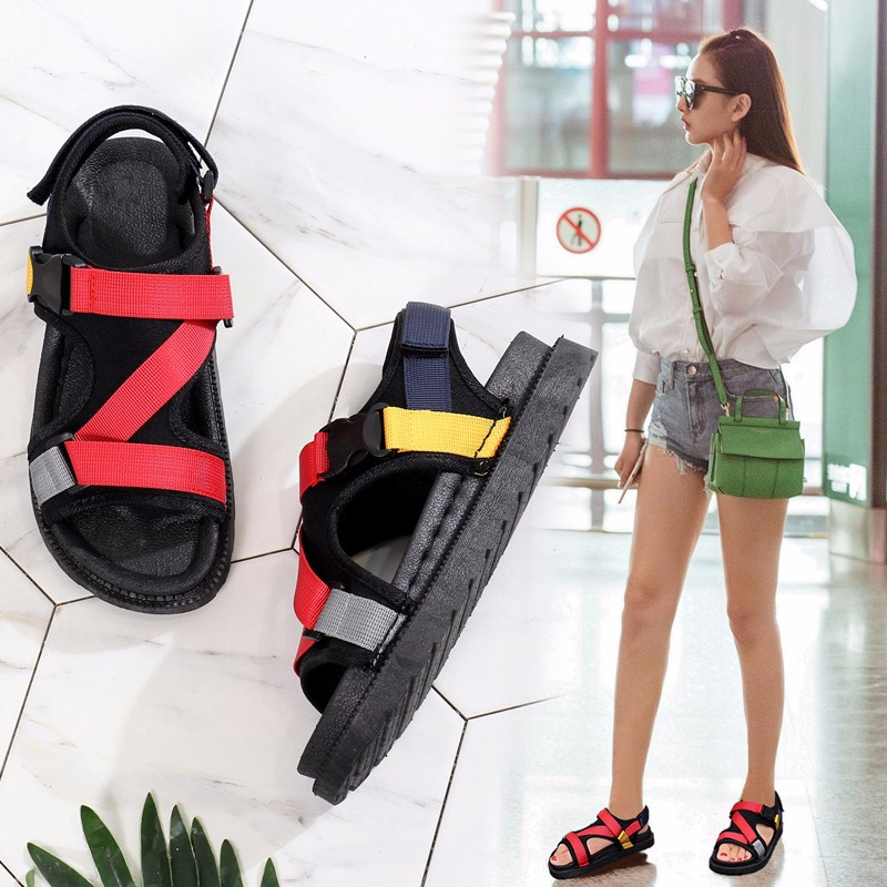 Open Toe Front Rear Strap Flat with Platform Sandals Women Mixed Colors Mixed Colors Casual Ladies Shoes Fashion Basic Sandals 1