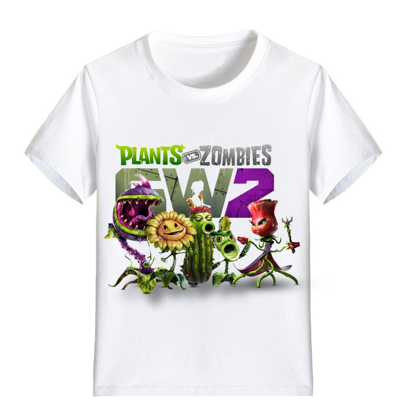 все цены на Children T Shirt Cartoon family Plants vs Zombies GW2 Garden Warfare Boy Kid Clothes Girl Tee Shirt Kid P1223 онлайн