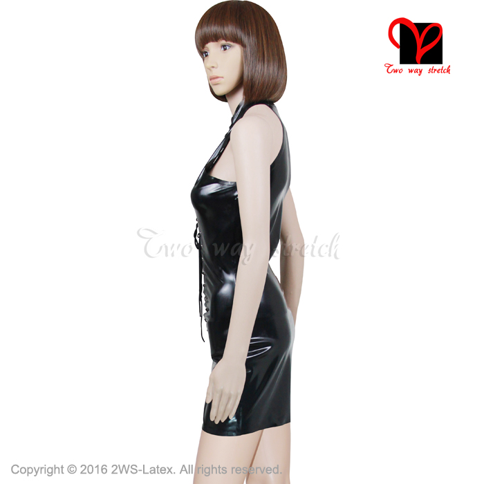 Sexy Black Pencil Latex Dress Lace Up Rubber Bodycon Sleeveless Gummi Plunge Tie Front Backless Shift Strap XXXL Plus Size