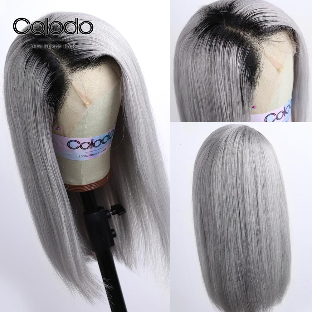 COLODO 1B/Grey Bob Lace Front Wigs With Baby Hair Pre Plucked Side Part Bob Wig Brazilian Remy Short Human Hair Wigs For Women
