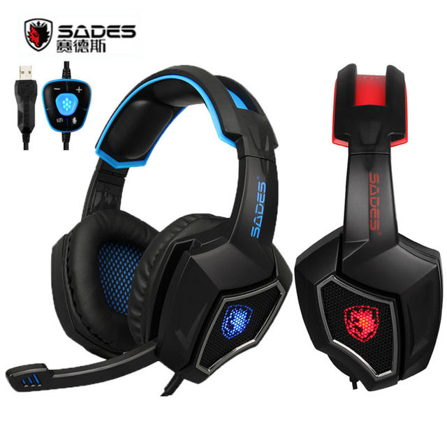 90aebb2198e Sades Spirit Wolf 7.1 sound Stereo USB Gaming headphones for computer  headset with mic Noise cancelling Led lights High quality
