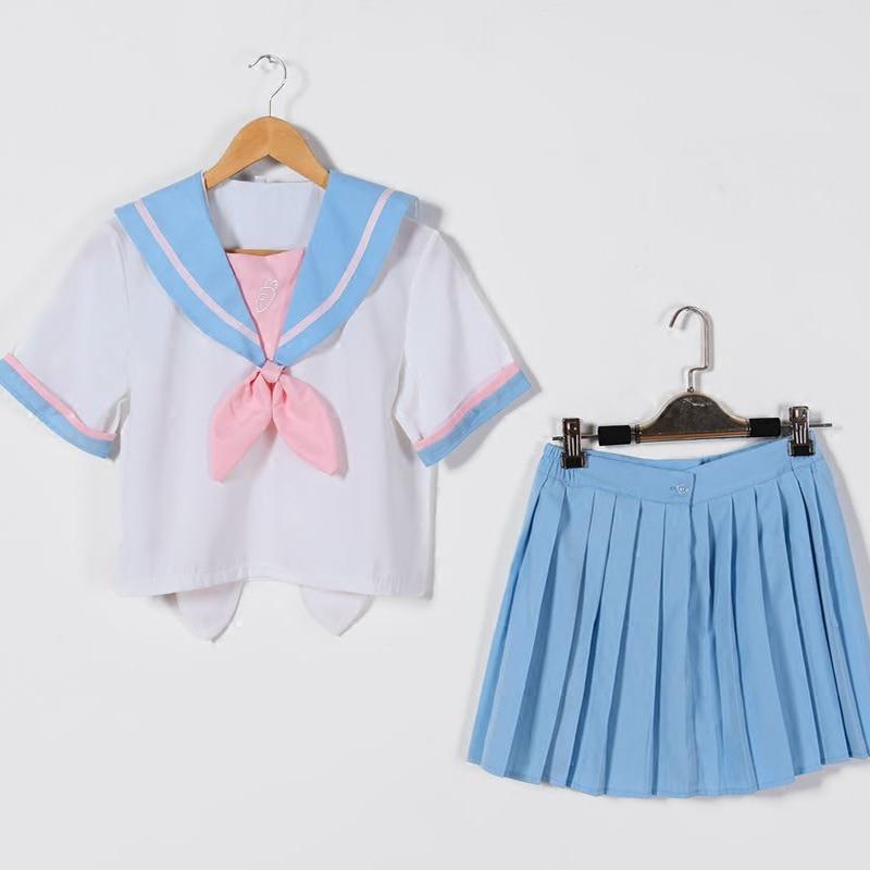 UPHYD Japanese Sky Blue Uniforms JK Uniform Girl Rabbit Ear Collar A Short Sleeve Sailor Suits 3Pcs/Set W12