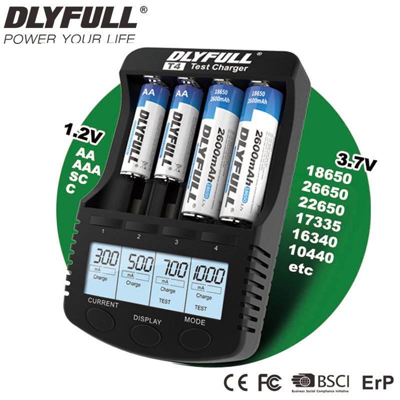 18650 Charger DLYFULL T4 LCD NiCd NiMh Li-ion  18650 Vape Battery For AA AAA 123A USB 5V Output With Test Feature Free Shipment 30a 3s polymer lithium battery cell charger protection board pcb 18650 li ion lithium battery charging module 12 8 16v