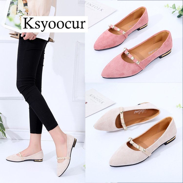 Brand Ksyoocur 2018 New Ladies Flat Shoes Casual Women Shoes Comfortable Pointed Toe Flat Shoes Spring/autumn Women Shoes 18-025