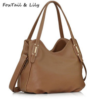 FoxTail & Lily Genuine Leather Bags for Women Luxury Designer Real Leather Handbags Ladies Casual Shoulder Crossbody Bags