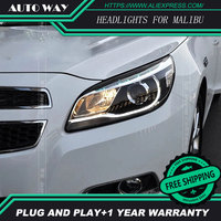 Free shipping ! Car styling LED HID Rio LED headlights Head Lamp case for Chevrolet Malibu 2013 Bi Xenon Lens low beam