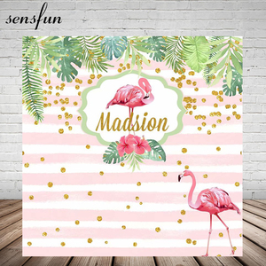 Image 1 - Gold Glitter Dots Pink Flamingo Tropical Rainforest Backdrop For Photo Studio White And Pink Striped Birthday Party Backgrounds