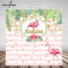 Gold Glitter Punkte Rosa Flamingo Tropischen Regenwald Hintergrund Für Foto Studio Weiß Und Rosa Gestreiften Geburtstag Party Hintergründe