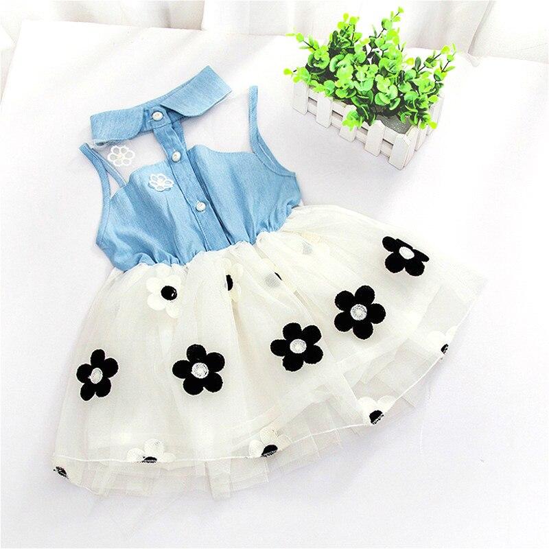Baby Girl Kid Denim Top Sleeveless Princess Dress Tulle Tutu Mini Dress Princess Summer