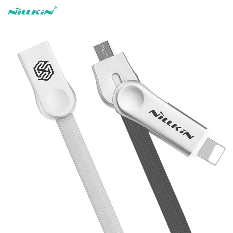 2 em 1 USB Cabo do Carregador Cabo USB NILLKIN para o iphone X/8/8 Plus/7/ 7 Plus/6 s/6/5S/SE Para iPad Micro Para xiaomi Para huawei
