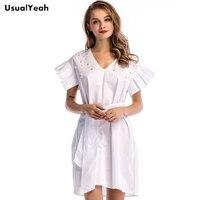 UsualYeah Women Casual Cotton Dress V Neck Beading Belt Short Dresses Vestidos S M L XL