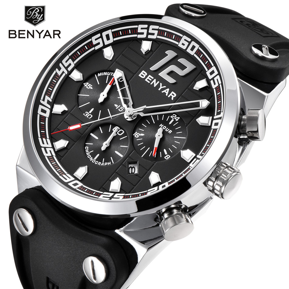 d2cb550dc59 BENYAR Top Brand Stainless Steel Mens Watches Luxury Business Quartz Watch  Men Tachymeter 30M Waterproof Male Clock montre homme