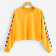 CHAMSGEND Women sweatshirt Rainbow Patchwork kpop harajuku Long Sleeve O Neck Pullover Autumn hoodies sweatshirts off white F720(China)