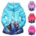 3 Cores Inverno Quente Cotton Jacket & Brasão Chidren, As Meninas Do Bebê Coreano Dos Desenhos Animados Manga Longa Outwear, Crianças Inverno Roupas quentes