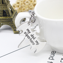 """2019 """"My Dad My Superhero"""" Bat Shape Keychain Daddy Key Rings Gift for Dad Fathers Day,Father Key Chain Cars Bags Accessories"""