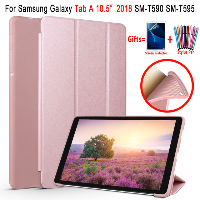 Thông minh dành cho Samsung Galaxy Tab A 10.5 2018 Ốp Lưng T590 T595 SM-T590 SM-T595 Thức Giấc Ngủ Da Mềm Mại Ốp Lưng Silicon bao da Funda
