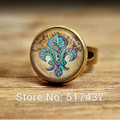 Anchor Ring Fleur de Lis with Cherubs Aqua on Tan Parchment-Vintage-Inspired Handcrafted Keepsake Ring-adjustable ring for women