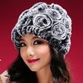 Venta caliente de Piel de Invierno Sombreros de Mujer Natural Rex Rabbit Fur Caps Wholesale Retail Real Rex Rabbit Fur Gorros Sombreros de Invierno