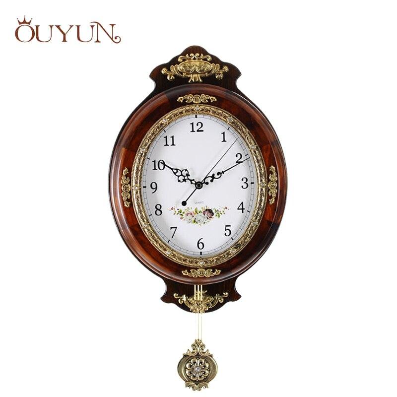 OUYUN европейские Большие настенные часы современный дизайн деревянные винтажные настенные часы маятник немой часы безопасные кварцевые час...
