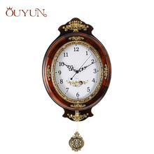 OUYUN European large Wall Clock Modern Design Wooden Vintage Wall Clock Pendulum Mute Clock Safe Quartz