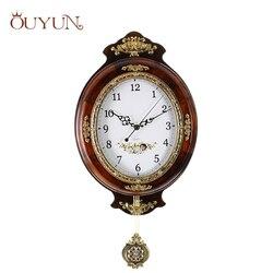 OUYUN europejski duży zegar ścienny nowoczesny Design drewniany zegar ścienny vintage Pendulum cichy zegar bezpieczny zegar kwarcowy ruch domu|clock safe|large designer wall clockslarge wall clock -
