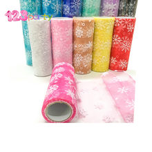 123 6inch*10Y Snowflake Printed Organza Tulle Rolls for Christmas Decoration Frozen Party Tutu Skirt Wedding Dress Supplies Deco(China)