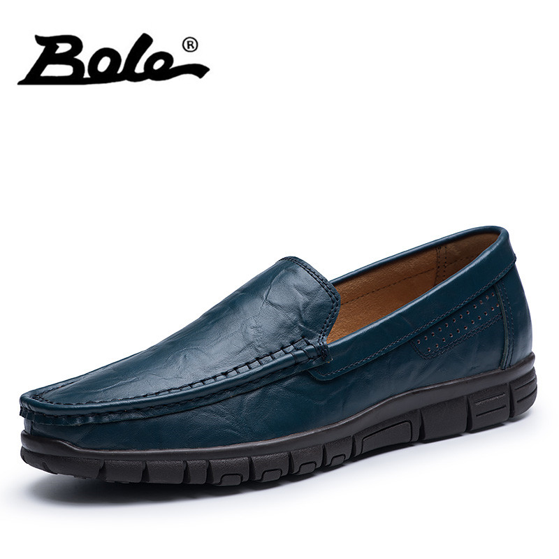 BOLE 38-47 Big Size Men Causal Shoes 2018 High Quality Handmade Leather Men Shoes Cozy Driving Loafers Slip on Shoes Men Flats new fashion autumn solid color men shoes leather low slip on men flats oxford shoes for men driving shoes size 38 44 yj a0020