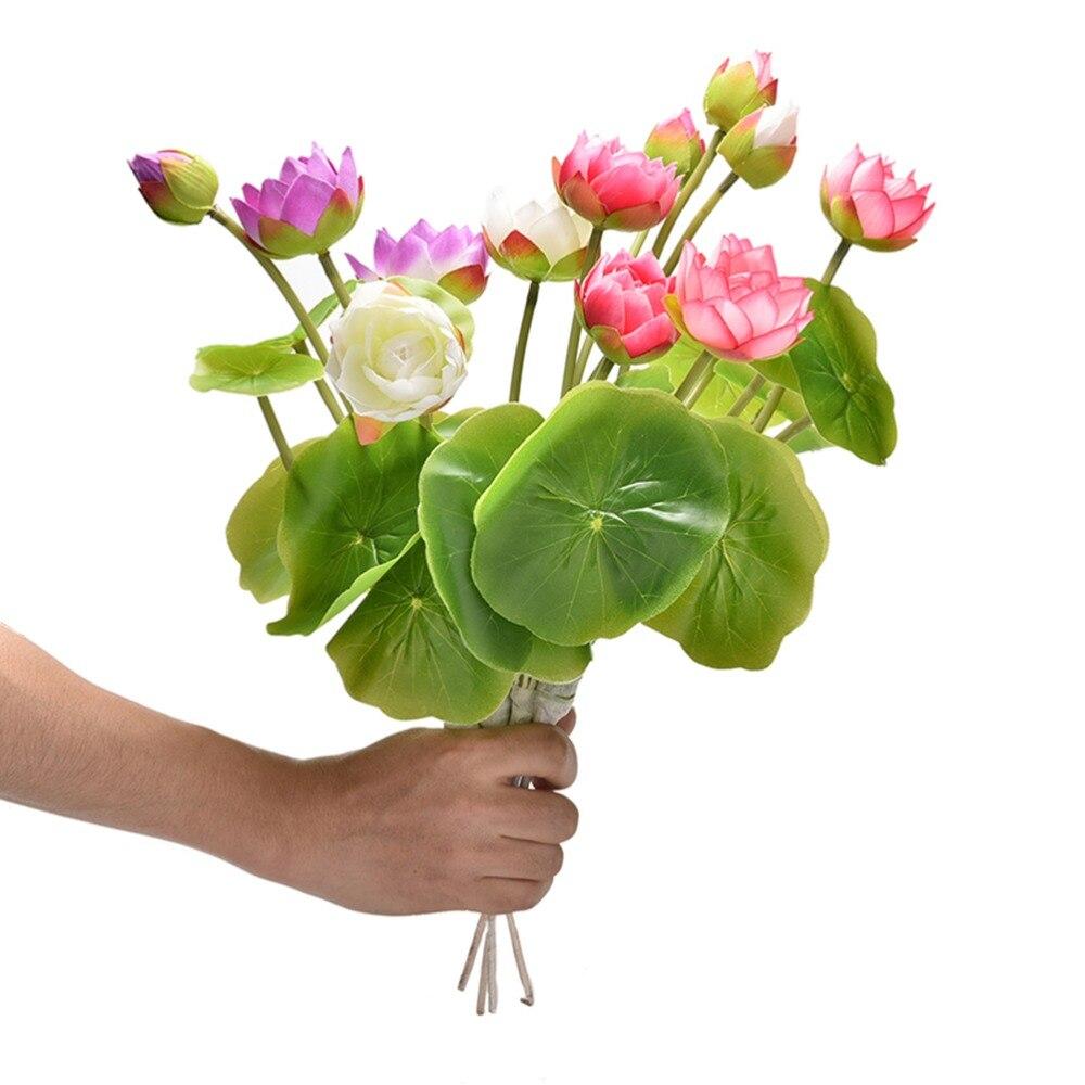 4 Colors Green Leaf Plant Mini Artificial Lotus Flower Desktop Vase