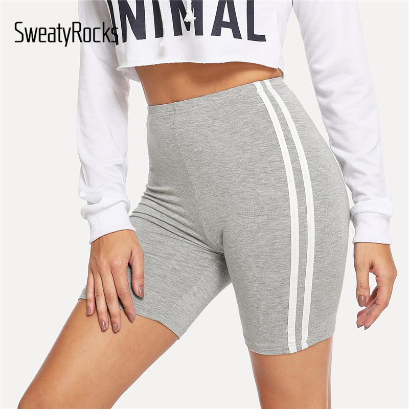 SweatyRocks Contrast Striped Side Cycling   Shorts   Active Wear Women Skinny Biker   Shorts   2019 Summer Fitness Casual Grey   Shorts